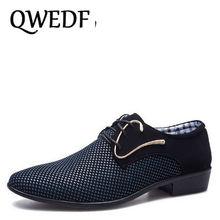 QWEDF 2018 spring new designer Business mens dress  shoes patchwork hairstylis Comfortable Men Wedding Dress Shoes CC-005