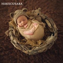 Для новорожденных детский наряд для фотосессии аксессуары шапочка с медвежьими ушками + кукла 2 шт. комплекты для малышей; Одежда для малень...