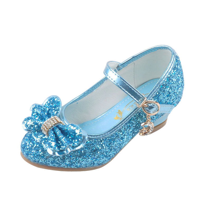 Bow Children Shoes Glitter Princess Girls Sandals Cinderella Kids High Heels Teenager Small Feet Ladies Shinning Fairy Tale Danc