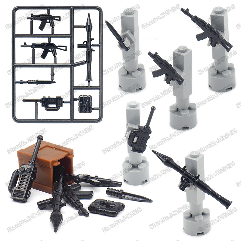 Legoinglys Ww2 Weapons Military Building Blocks Rocket  Submachine Gun Model Army Figures Special Forces Moc Child Christmas Toy