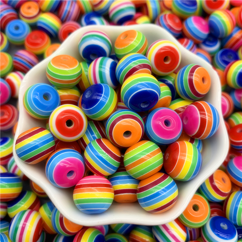 Stripe Beads Necklace-Accessories Diy Bracelet Jewelry-Making Mixed-Rainbow-Resin 8mm
