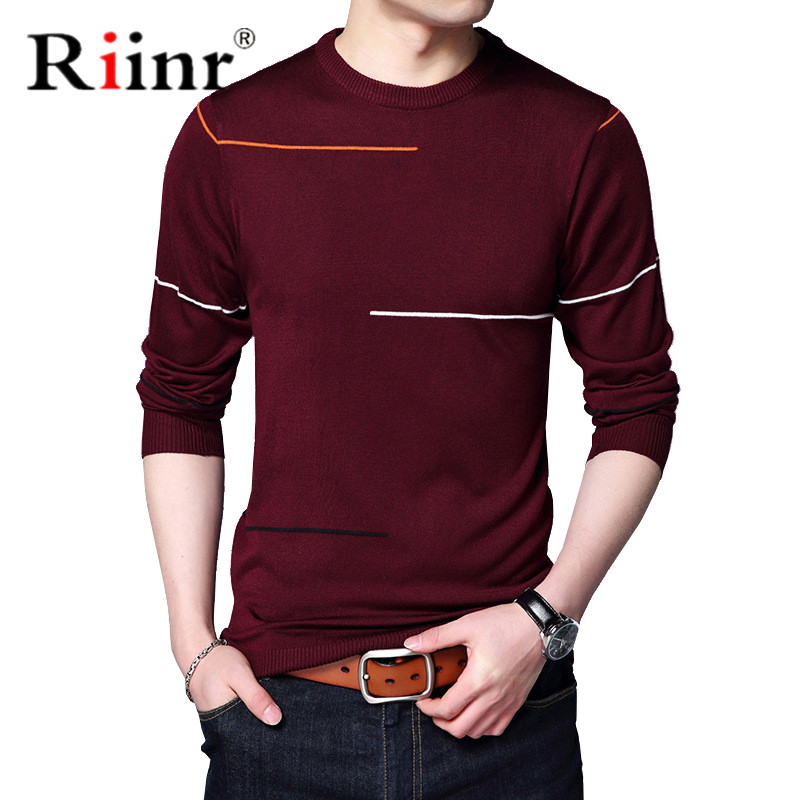Riinr Cotton Wool Sweater Men Brand Clothing 2019 Autumn Winter New Arrival Slim Warm Sweaters O-Neck Pullover Men Top