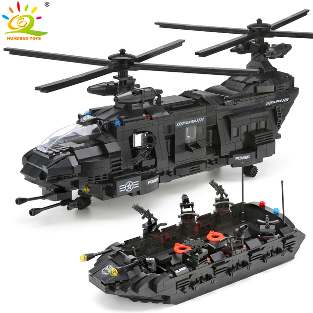 HUIQIBAO 1351pcs Military Army Swat Police Building Blocks Spaceship 8 figures helicopter Bricks Toys for children