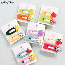 2PCS/Set Flower and Fruit Cartoon BB Clip Small Hairgrips Hairpin Barrettes For Girl Color Hair Headdress Accessories