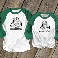 Santa Nothing for You Tshirt Women Vintage 90s Print Top Long Sleeve Streetwear Christmas Graphic Tees Woman 2019