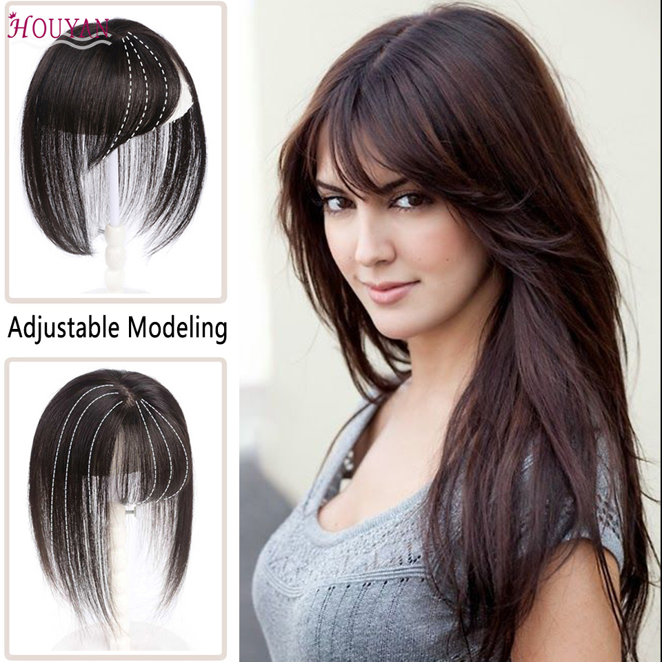 HOUYAN Short Human Hair One Piece Three Lengths Are Optional Real Human Hair 3D Bangs Clip In Bangs 100% Human Hair Bangs