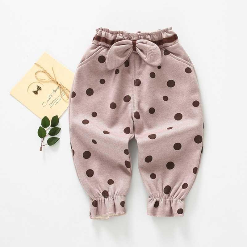 2019 ファッション秋冬女の赤ちゃん子供ベルベットパンツ弓のドットパンツ幼児子供服王女ロングパンツ S9917