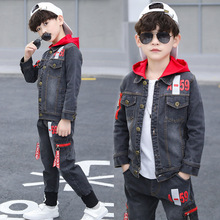 Boy Clothes Set Teens Denim Hooded Jacket Pants 2pcs Set Kids Cowboy Spring Summer Outfits Children Casual Clothing New Year