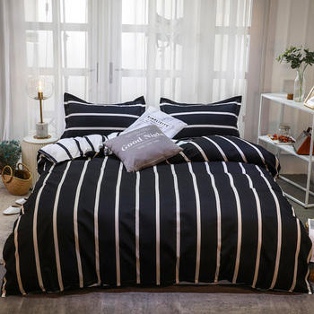 Simple Bedding Sets Black with White Stripes 13