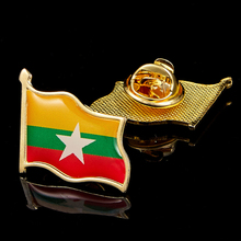 Myanmar Epoxy Painting Flag Brooch Zinc Alloy Metal Tie Lapel Badge Brooch Pin