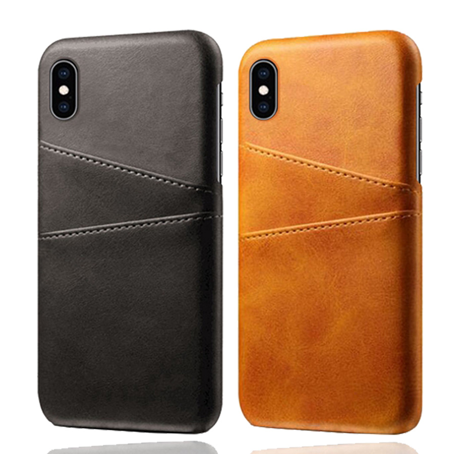 Luxury Leather Card Holder Slots Phone Cases For iPhone X XR XS Max Slim Hybrid Hard Platic Cover For iPhone 10 6 6S 8 7 Plus image