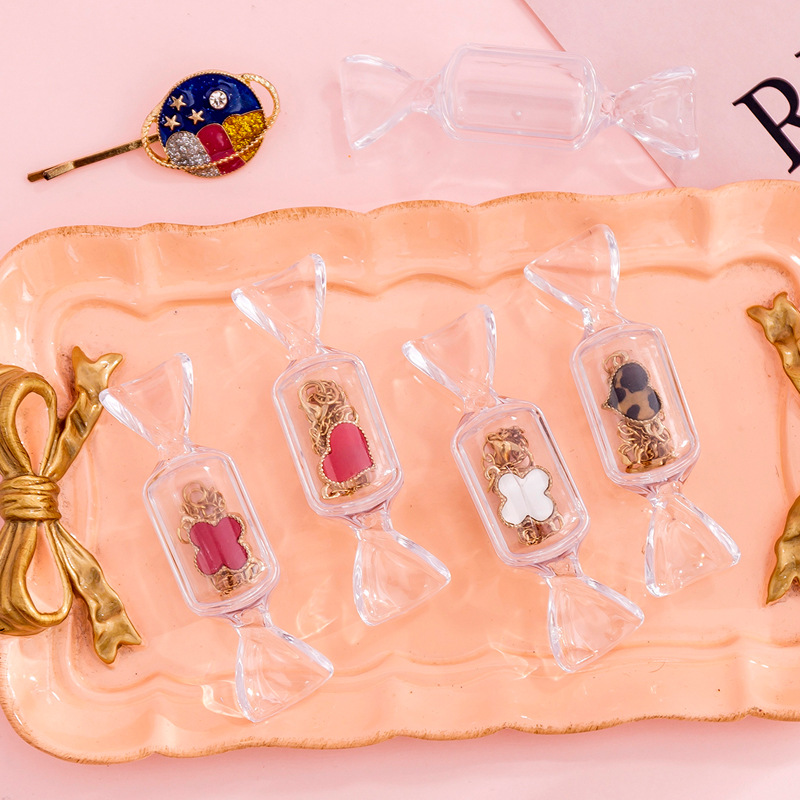 2PC Cute Teen Girls Candy Shape Transparent MakeUp Storage Box Mini Portable Earrings Jewelry Bag Travel Cosmetic Storage Box in Travel Accessories from Luggage Bags