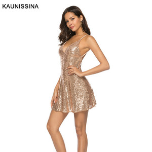 Image 4 - KAUNISSINA セクシーなショートスパンコールカクテルドレスクラブパーティーガウンスパゲッティストラップ V ネックバックレスゴールドホームカミングのドレス
