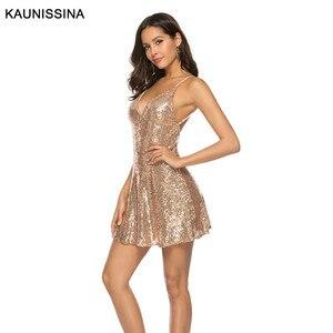 Image 4 - Kaunestina robe de Cocktail, Sexy, courte, pailletée, à bretelles Spaghetti, col en V, dos nu, tenue dorée