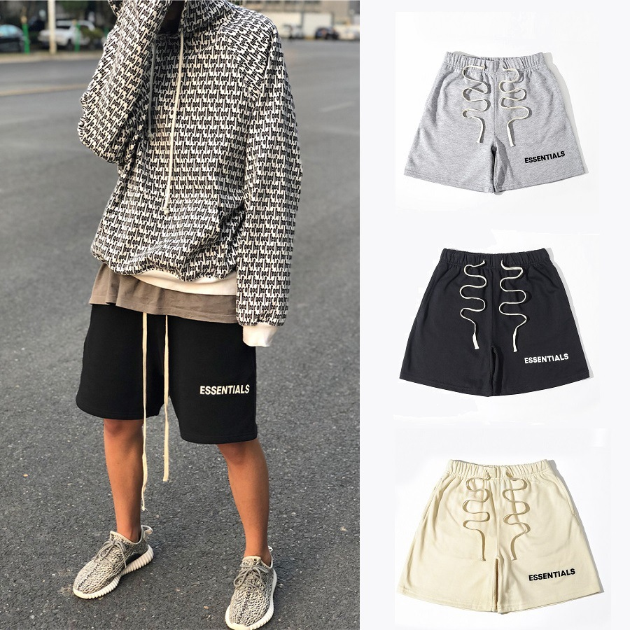 Europe And America Summer New Products Fog Double-Track Essentials Lettered Shorts Cool Loose-Fit Men And Women-Bermuda Shorts