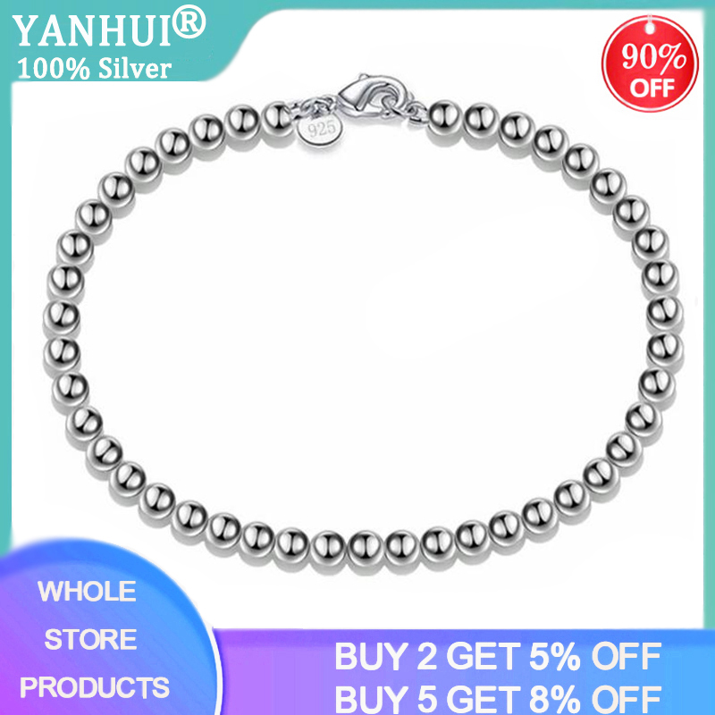 YANHUI 100% Real 925 Solid Sterling Silver Fashion 4mm Beads Chain Bracelet 20cm For Teen Girls Lady Gift Women Fine Jewelry