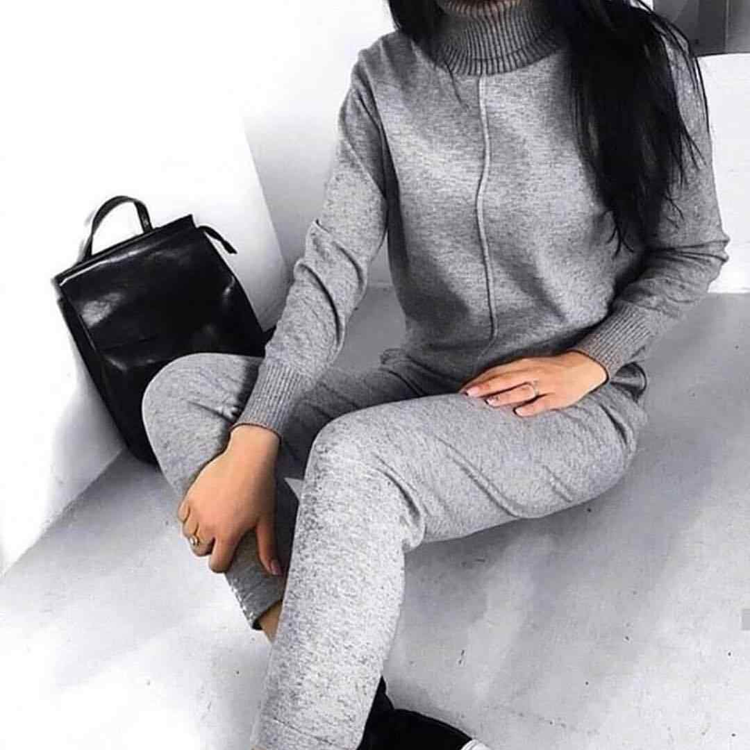 Mooirue женский свитер костюм осень зима 2 шт. водолазка однотонный трикотажный пуловер + брюки с высокой талией повседневные уличные комплекты