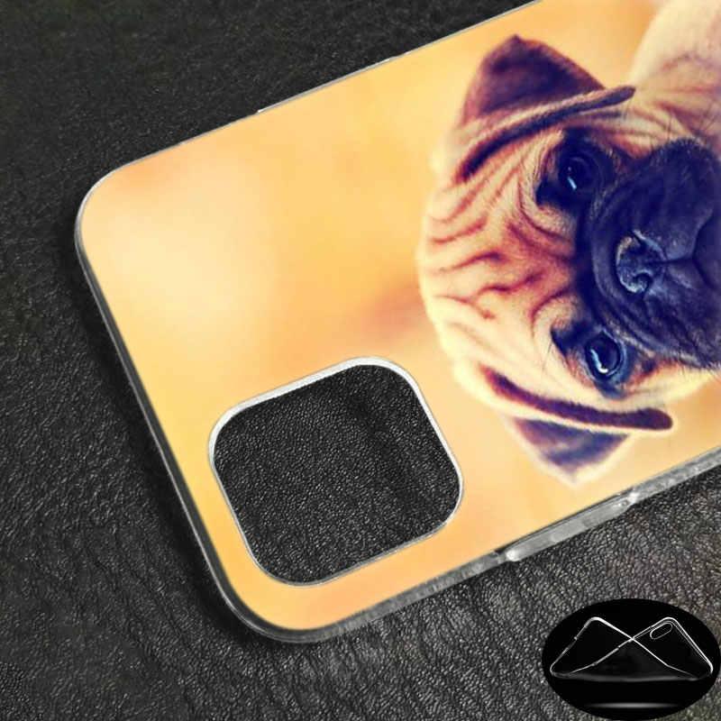 Luxo Macio Caso de Telefone Silicone Bonito Cão PUGS para Apple iPhone 11 Pro Max X XR 6 6 XS S 7 8 Plus 5 5S SE Moda Capa