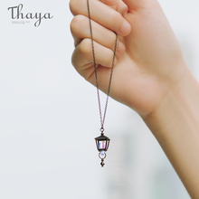 Thaya  S925 Sterling Silver Black Necklace Roman Lamp Shape Color Light Design for Women Jewelry Travel Gift
