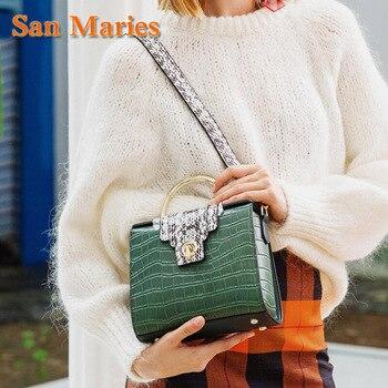 San Maries Shell Bags Women Cow Leather Handbags Fashion Sequined Bolsa Feminina Shoulder Bags Ladies Totes Bag Sac A Main