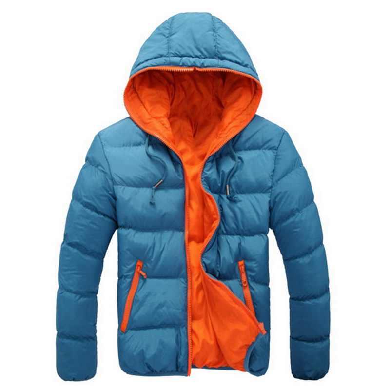 DIHOPE 남자 코트 겨울 색 블록 지퍼 후드 자 켓 코 튼 패딩 코트 슬림 맞는 패션 Thicken 따뜻한 Outwear Tracksuit