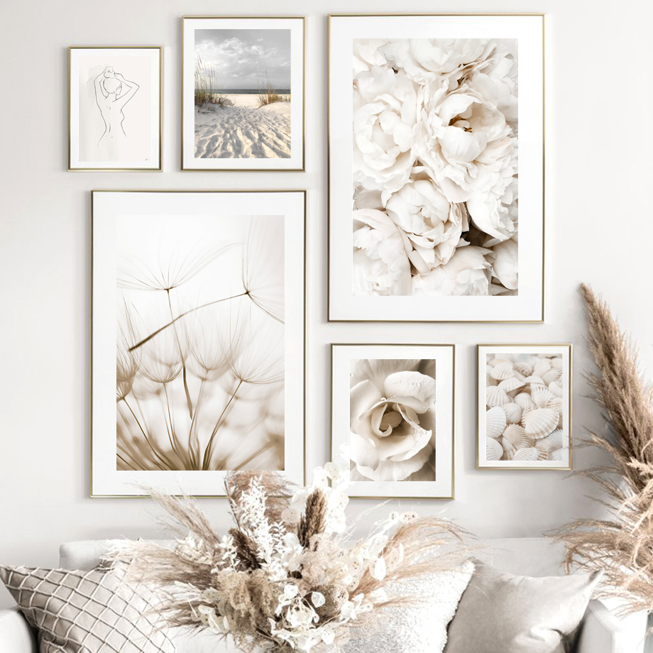 Flower Dandelion Sunset Bird Beach Grass Shell Nordic Poster Wall Art Print Canvas Painting Decoration Pictures For Living Room