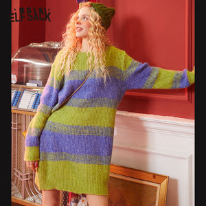 Image 1 - ELFSACK Green Striped Colorblock Knit Straight Dress Women 2020 Winter Pink Long Sleeve Loose Casual Office Ladies Daily Dresses
