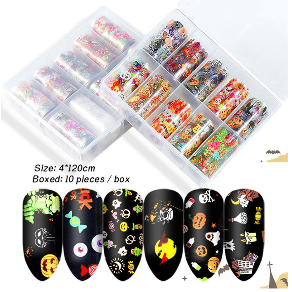 10pcs Set Christmas Halloween transfer nail art stickers decals nails decorations manicure tools Nail star sticker in Stickers Decals from Beauty Health