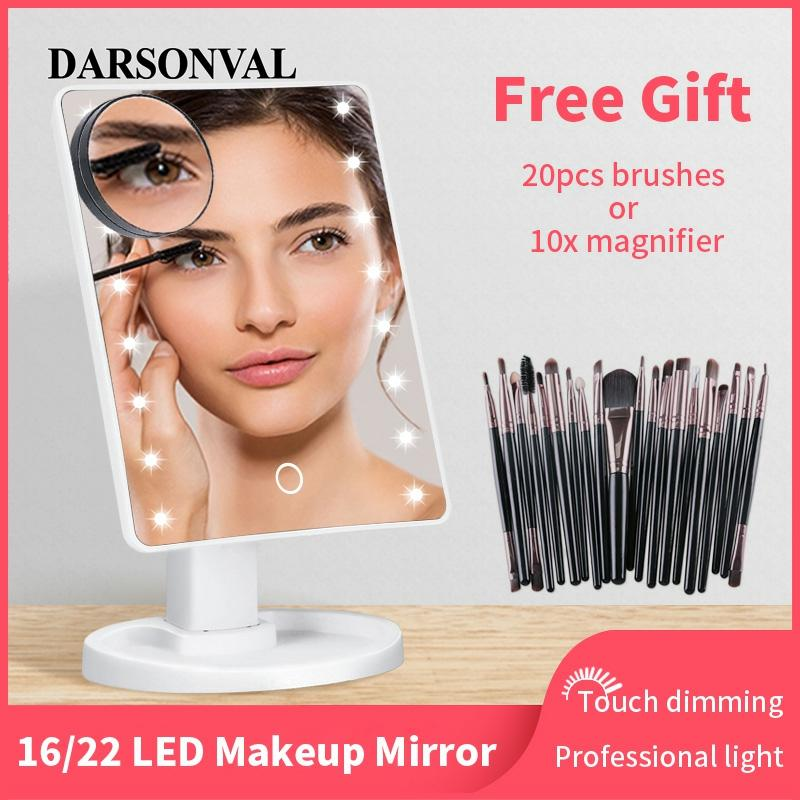 LED Makeup Mirror Illuminated Cosmetic Table Mirror With Light For Make Up Adjustable Light 16/22 Touch Screen Eyelash Brush