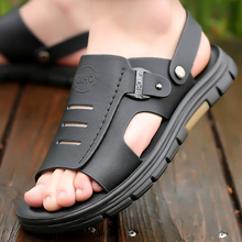 Men's Sandals Leather 2021 Summer New Casual Fashion Dual-Use Soft-Soled Non-Slip Middle-Aged Dad Beach Shoes
