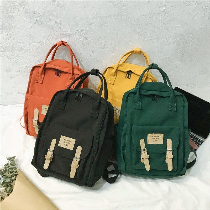 Canvas Women Backpack Female Vertical Zipper Small Schoolbag Leisure Travel Book Bag Back Pack Pu Leather Belt Girl's Mochila