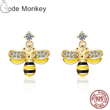 CodeMonkey Genuine 925 Sterling Silver Crystal Bee Women Earrings Fashion Jewelry Girlfriend Gift  E710