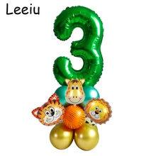 Leeiu 18 pçs cabeça animal selva balões conjunto crianças 1 2 3 anos decoração de aniversário número verde balão festa de chuveiro do bebê baloon