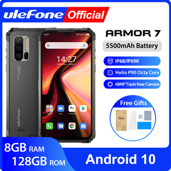 Ulefone Armor 7 Android 10  Rugged Mobile Phone 2.4G/5G WiFi 8GB+128GB Helio P90 IP68  48MP CAM 4G LTE Global Version Smartphone lenovo s60 w 4g lte 5 0inch android 4 4 2gb 8gb smartphone 13 0mp