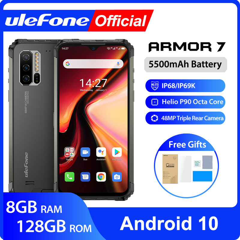 Ulefone Armor 7 Android 10 Rugged Mobile Phone 2.4G/5G WiFi 8GB+128GB Helio P90 IP68 48MP CAM 4G LTE Global Version Smartphone