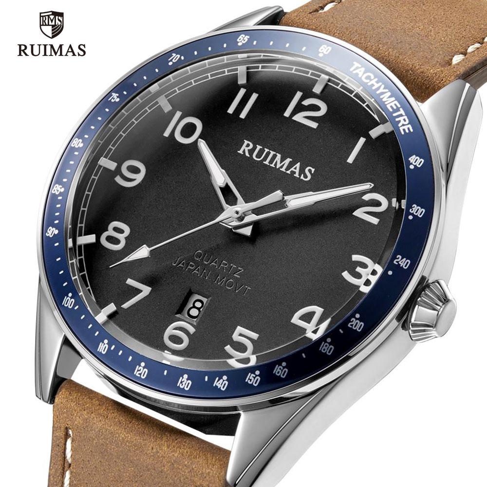 RUIMAS Brown Leather Quartz Watches Luxury Military Sports Watch Man Simple Waterproof Wristwatch Relogios Masculino Clock 573