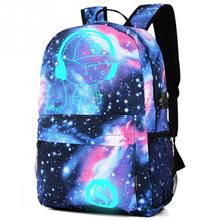 Teenager Girls Galaxy School Bag Noctilucent Backpack Collection Canvas USB Charger Anti-Theft Lock Large Capacity