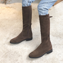 Plus Size 34-43 New Autumn Winter Mid-calf Women Boots Flats Heels Warm Plush Genuine Leather Boots High Quality Knee High Boots enmayer hot quality winter womens boots genuine leather high boots new flats heels shoes women boots big size 34 43 knight boots