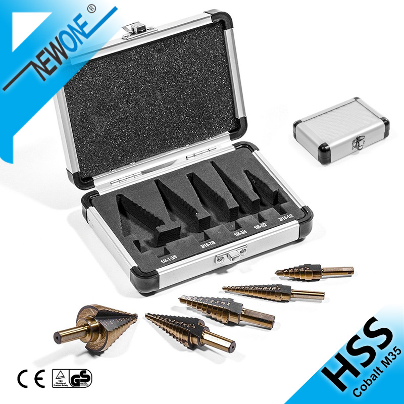 6/5/3/1PCS HSS Step Cone Drill Titanium Coated Hole Cutter Bit Set HSS Cobalt Multiple Hole 50 Sizes Step Drill Bit Set Tools