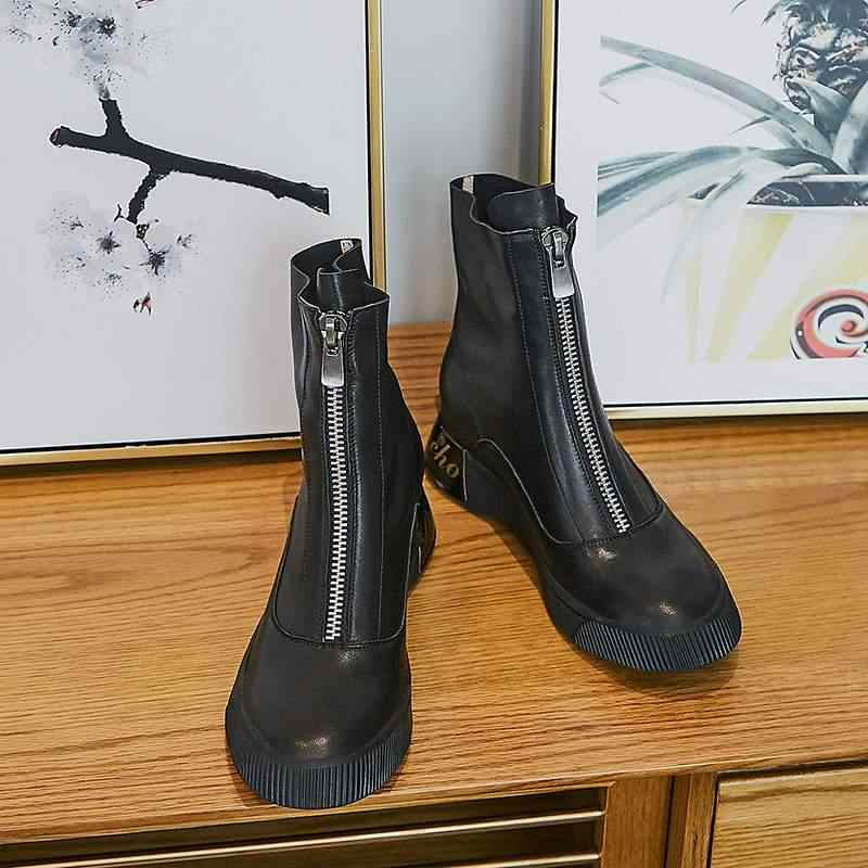 Krazing pot doğal inek deri eğlence taban kaya tasarım yuvarlak ayak kış med topuklar sıcak tutmak fermuar raptiye Chelsea çizmeler l56
