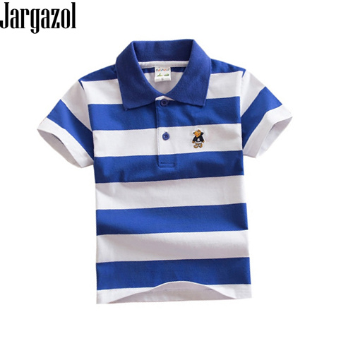 Jargazol Short Sleeve Polo Shirt Kids Stripes Bab Boy Camisa Polo Shirts Cartoon Embroidery Toddler Costume Boys Sport Outfits