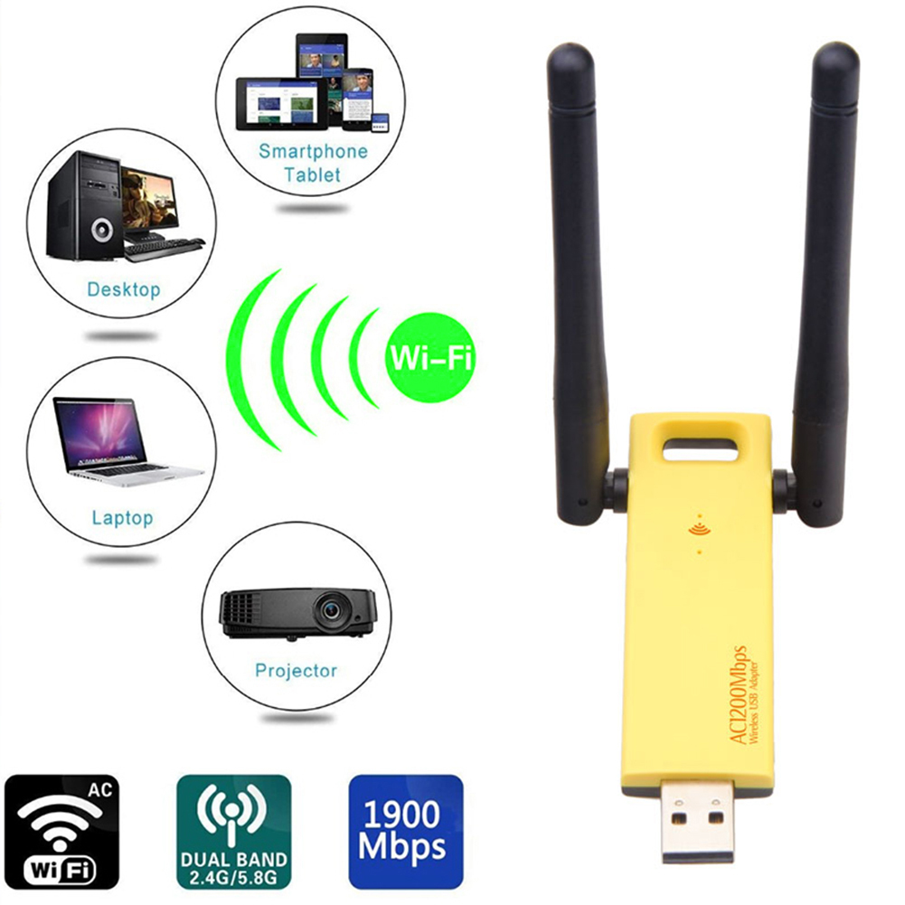 <font><b>USB</b></font> <font><b>3.0</b></font> Wifi 2.4G 5G Free Driver Antena 1200Mbps Wifi Lan <font><b>USB</b></font> Ethernet Adapter Network Card Wifi Dongle Antenna <font><b>802.11ac</b></font> Receive image