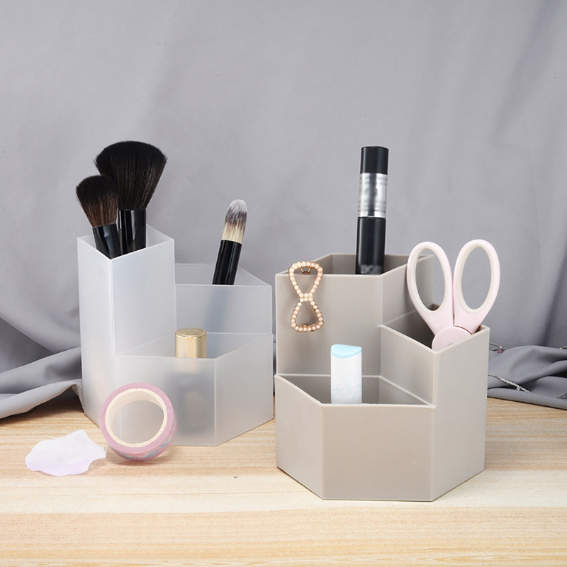 Cosmetics Office Desk Storage Case Organizer Nail Polish Makeup Tools Pen Holder Rack 3 Lattices Jewelry Brush Organizer