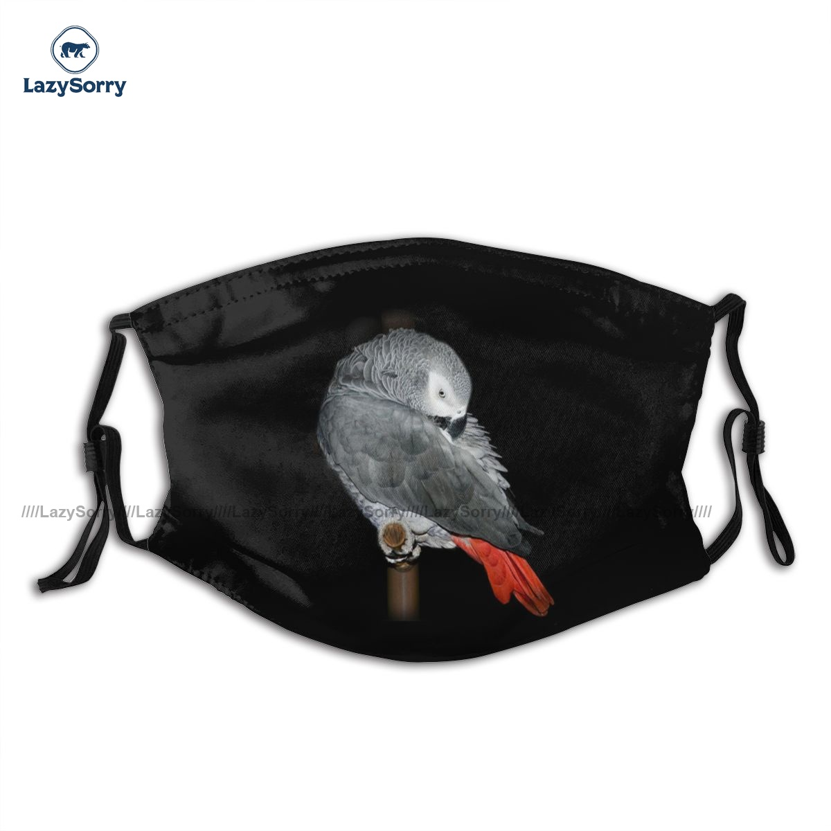 Sublimation Adult African Grey Parrot Face Mouth Mask Fantasy Cloth Charm Facial Mask With Filters