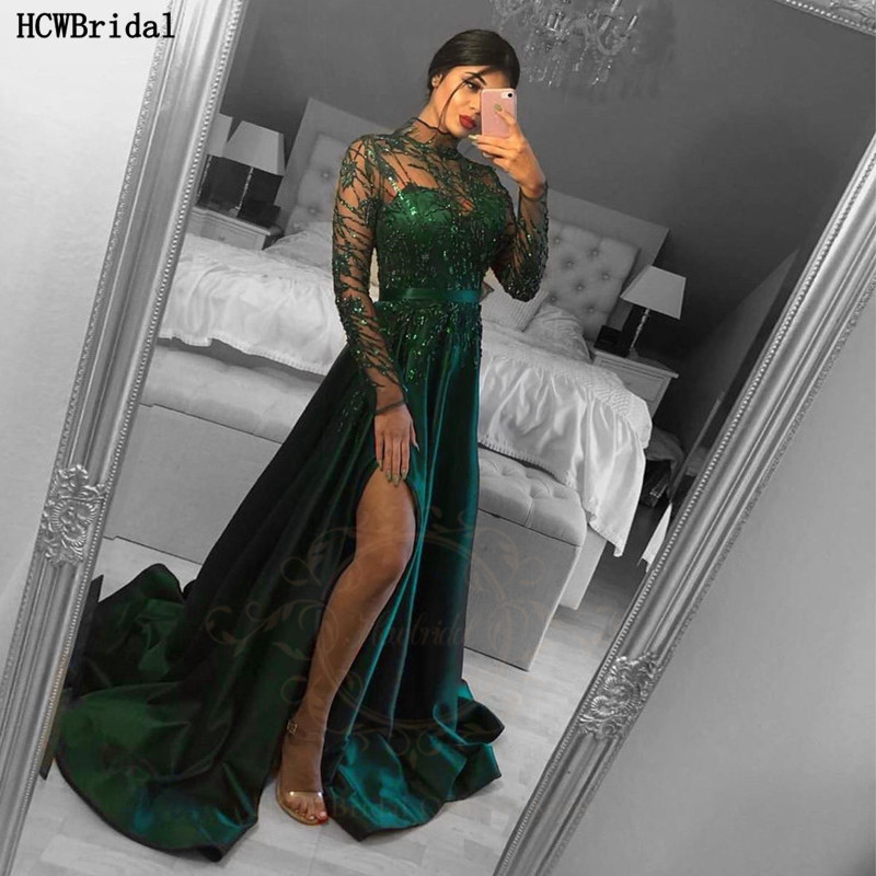 Long Sleeves Green Sexy Prom Dresses With Slit High Neck See Through Plus Size Graduation Dress Long Formal Gowns For Women