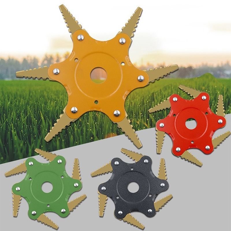 6 Blades Grass Cutter Trimmer Head Brush Cutter Weed Brush Cutting Head Garden Tool For Lawn Mower Rotary Blades Weeding Tool