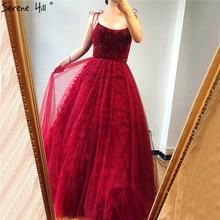 Vermelho sem mangas sexy a line vestidos de noite design 2020 miçangas em camadas tule vestidos de noite longo foto real la70164