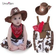 Umorden Cowboy Cow Boy kostiumy pajacyki na ubranka dla niemowląt i małych chłopców niemowlę Halloween boże narodzenie urodziny Cosplay przebranie