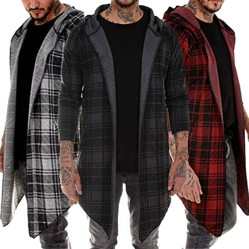 Hoodie Overcoat Trench Jacket Warm Plaid Stylish Casual Outwear Open-Stitch Men