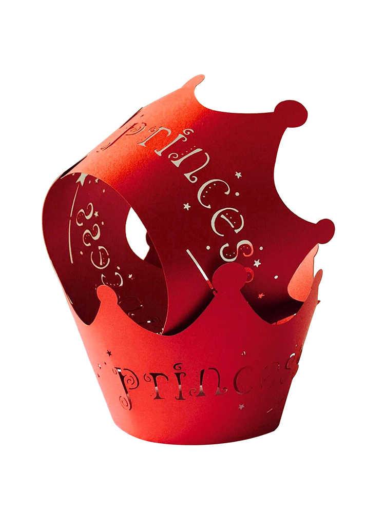 50 шт. обертки для кексов художественные бумажные стаканчики для торта Принцесса Корона лазерная резка форма для выпечки чехол для кексов лотки для свадебной вечеринки